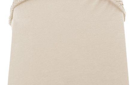 Béžové prostěradlo DecoKing Amber Collection, 180-200 x 200 cm