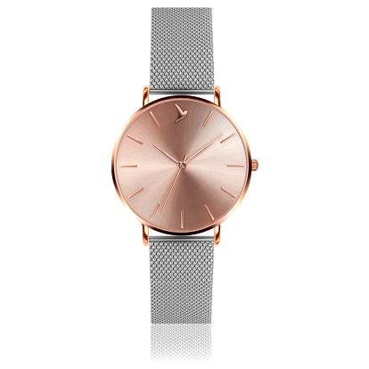 Dámské hodinky s šedým páskem z nerezové oceli stříbrné barvy Emily Westwood Luxury