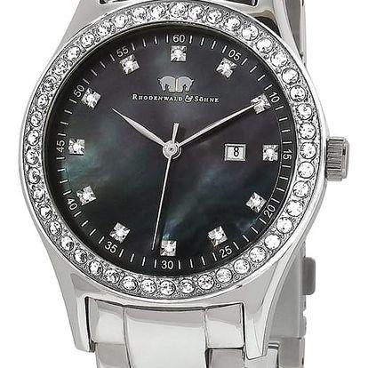 Dámské hodinky ve stříbrné barvě s černým ciferníkem Rhodenwald & Söhn Donagina