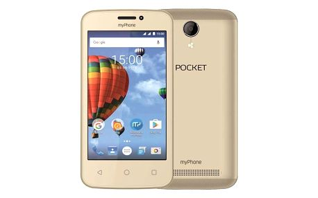 "myPhone Pocket - zlatý 4"" IPS/800x480/4GB/500MB RAM//2Mpx/Android 6"