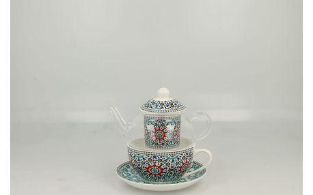 Set skleněné konvice a porcelánového šálku s podšálkem Duo Gift Maroko