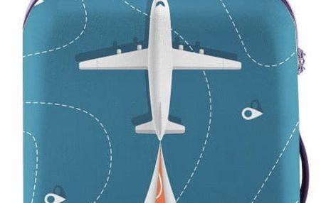 Modrý obal na kufr s motivem letadla Oyo Concept, 56 x 38 cm