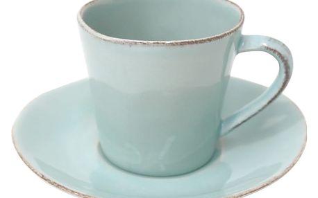 Tyrkysový kameninový šálek na čaj s podšálkem Costa Nova,190ml