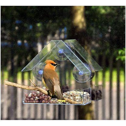 Krmítko pro ptáky s přísavkou na sklo