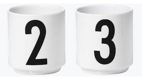 DESIGN LETTERS Espresso hrnečky Letters - set 4 kusů, černá barva, bílá barva, porcelán