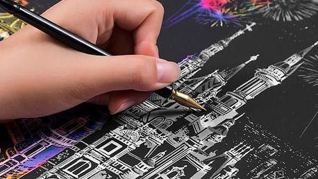 Vyškrabávací obrázky s barevným podkladem 40,5 cm x 28,5 cm