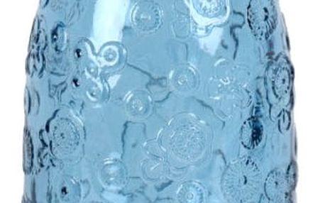 Modrá skleněná láhev EgoDekorFlora, 950 ml