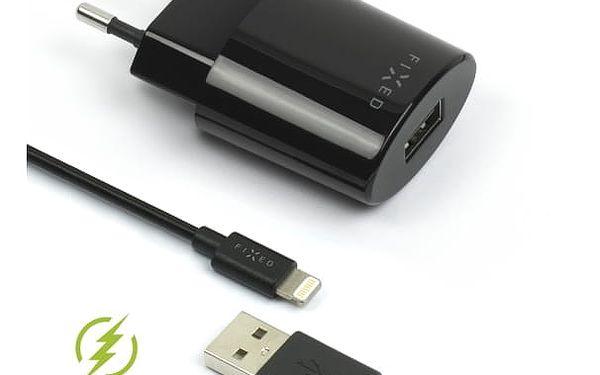 Nabíječka do sítě FIXED 1x USB, 2,4A + Lightning kabel černá (FIXC-UL-BK)