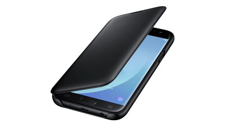Pouzdro na mobil flipové Samsung Wallet Cover pro J5 2017 černé (EF-WJ530CBEGWW)