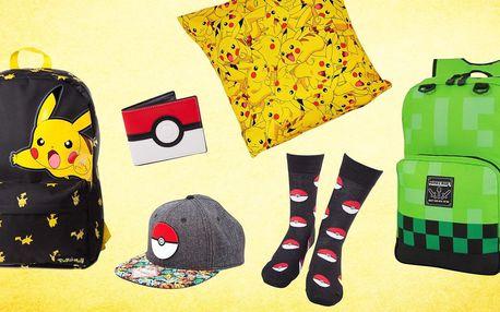 Pokémon a Minecraft: batohy, ponožky i polštářky