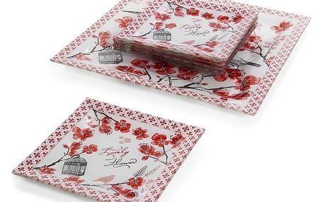 Bílo-červená sada 6 dezertních talířků a talíře na dort Mavi Kristal