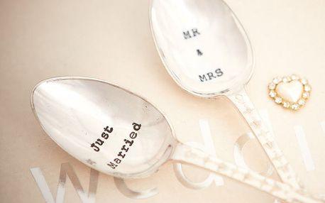 La de da! Living Postříbřený set čajových lžiček Just Married, stříbrná barva, kov