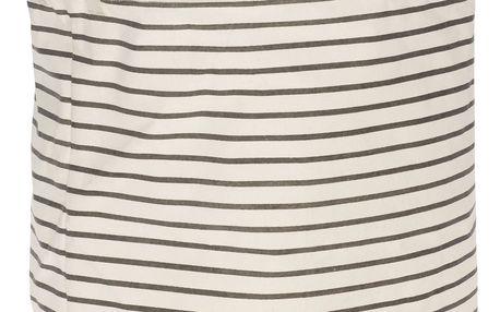 Hübsch Textilní koš na prádlo Stripes Grey, šedá barva, bílá barva, textil