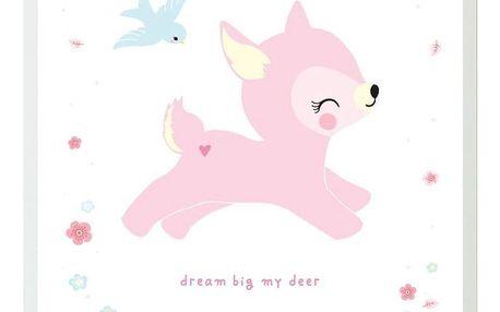 A Little Lovely Company Plakát Deer 50x70cm, růžová barva, bílá barva, papír