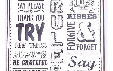 La finesse Plechová cedule Home rules, bílá barva, kov
