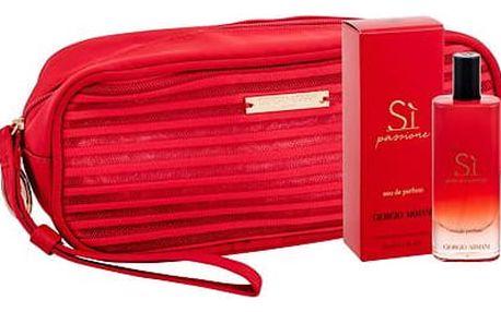 Giorgio Armani Sì Passione EDP dárková sada W - EDP 15 ml + kosmetická taška