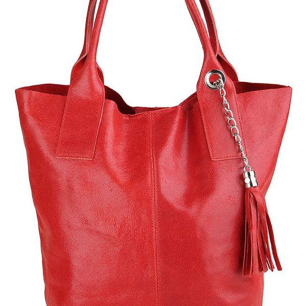 Červená kožená kabelka Chicca Borse Tote Moe