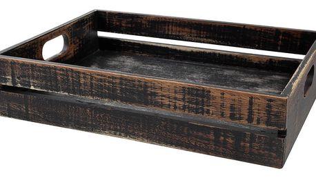 Černý podnos s úchyty z akáciového dřeva T&G Woodware Drift
