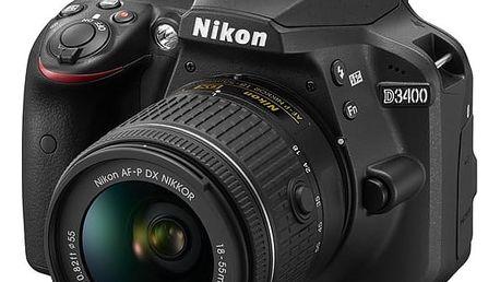 Digitální fotoaparát Nikon D3400 + AF-P 18-55 VR + 4x čištění čipu zdarma (VBA490K001) černý Elektronický fotorámeček Hyundai LF 1030 MULTI černý v hodnotě 1 999 Kč + DOPRAVA ZDARMA