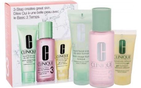 Clinique 3-Step Skin Care 3 dárková kazeta pro ženy čisticí voda Clarifying Lotion 3 100 ml + čisticí mýdlo Liquid Facial Soap Oily Skin 50 ml + Hydratační emulze DDMGel 30 ml