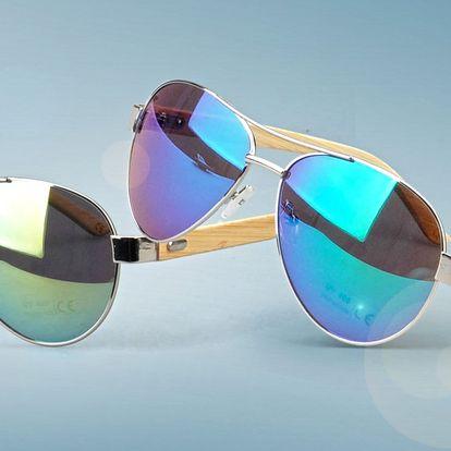 Sluneční brýle pilotky s dřevěným rámem