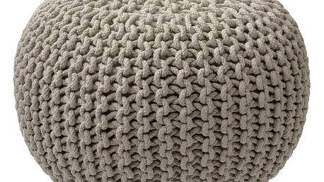 Béžovo-šedý pletený puf ZicZac