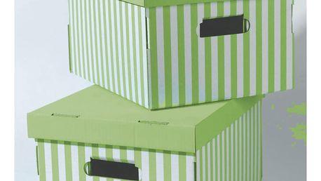 Sada 2 zelených úložných krabic Compactor Stripes