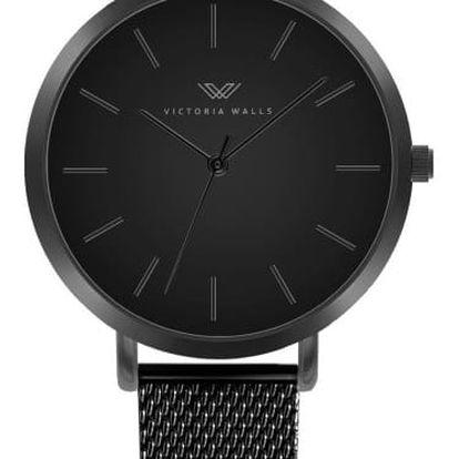 Černé dámské hodinky s řemínkem z chirurgické oceli Victoria Walls Negro
