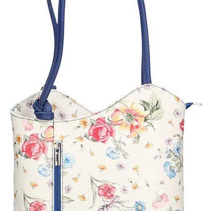 Kožená kabelka s tmavě modrými detaily Chicca Borse Paraya