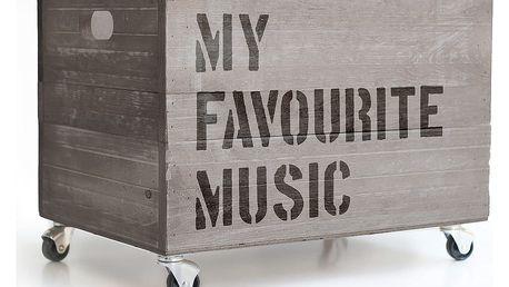 Šedý pojízdný box Really Nice Things Happy Favourite Music