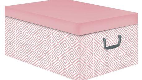 Růžová úložná krabice s víkem Compactor Cube 50x40x25cm