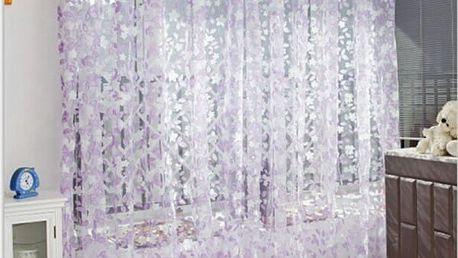 Moderní záclona se vzorem listů - 3 barvy