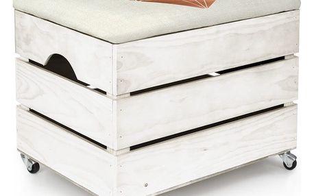Bílý úložný box se sedátkem Really Nice Things Heart, 50 x 35 cm