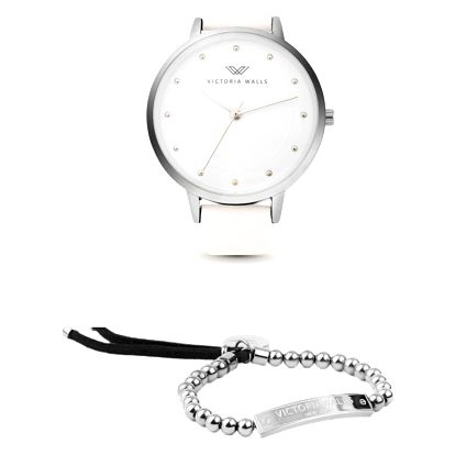 Set dámských hodinek s bílým koženým řemínkem a náramku Victoria Walls Alice