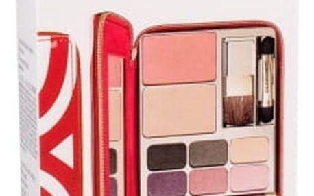 Clarins Wonder Perfect dárková kazeta pro ženy řasenka Wonder Perfect 3 ml 01 Intense Black + lesk na rty Prodige 2,5 ml 04 Candy + oční stíny 6x1 g + kompaktní pudr 6 g + tvářenka 6 g + kosm. obal