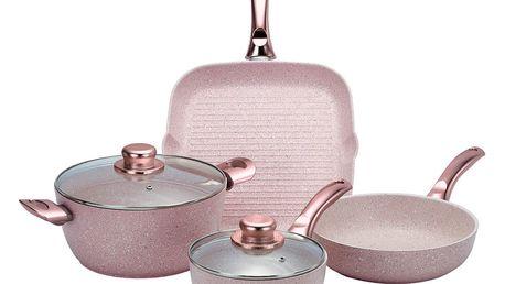 6dílný set nádobí s poklicemi Bisetti Stonerose Rose
