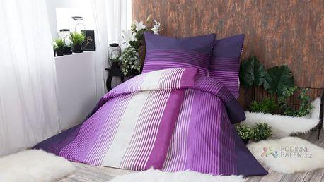 XPOSE ® Bavlněné povlečení na dvě lůžka ERIKA - fialová 140x200, 70x90