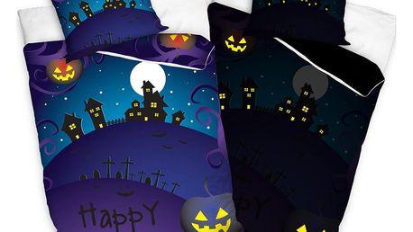 TipTrade Bavlněné povlečení Halloween Strašidelný dům, 140 x 200 cm, 70 x 80 cm