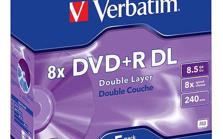 Disk Verbatim DVD+R DualLayer, 8,5GB, 8x, 5ks (43541)