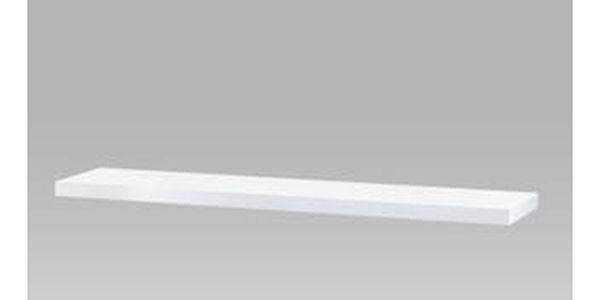 Nástěnná polička 120cm, barva bílá