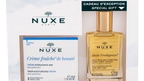 NUXE Creme Fraiche de Beauté 48HR Moisturising Cream dárková kazeta pro ženy denní pleťová péče 50 ml + suchý olej Huile Prodigieuse 30 ml