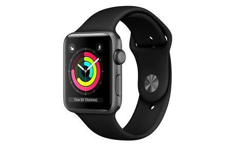 Chytré hodinky Apple Watch Series 3 GPS 42mm pouzdro z vesmírně šedého hliníku - černý sportovní řemínek (MQL12CN/A) + DOPRAVA ZDARMA