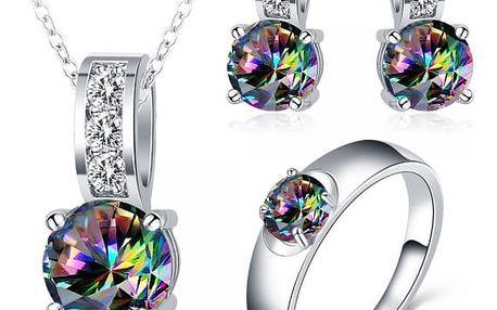 Sada šperků s duhovými kamínky