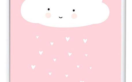 A Little Lovely Company Plakát do dětského pokojíčku Cloud 50 x 70 cm, růžová barva, papír