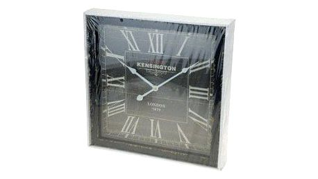 Koopman 35257 Dřevěné nástěnné hodiny 40 x 40 cm - ČERNÁ