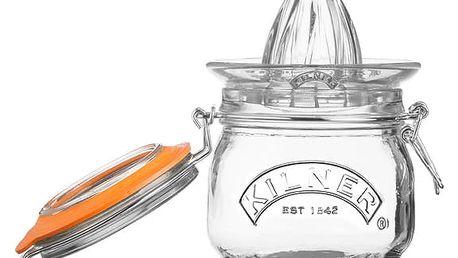 Set skleněného odšťavňovače a sklenice s klipem Kilner Citrus
