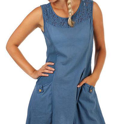 Bavlněné letní šaty s krajkou a výraznými kapsami denim