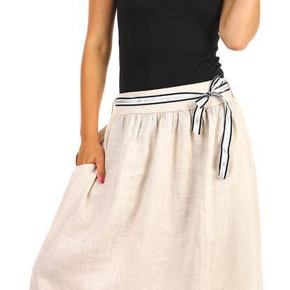 Lněná dámská maxi sukně s kapsami bílá