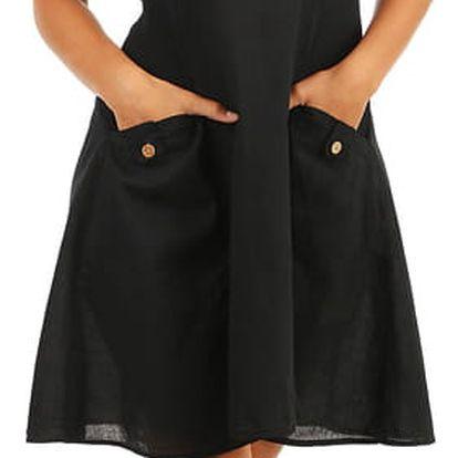Bavlněné letní šaty s krajkou a výraznými kapsami černá