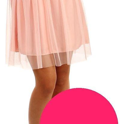 Krátká dámská tylová sukně růžová